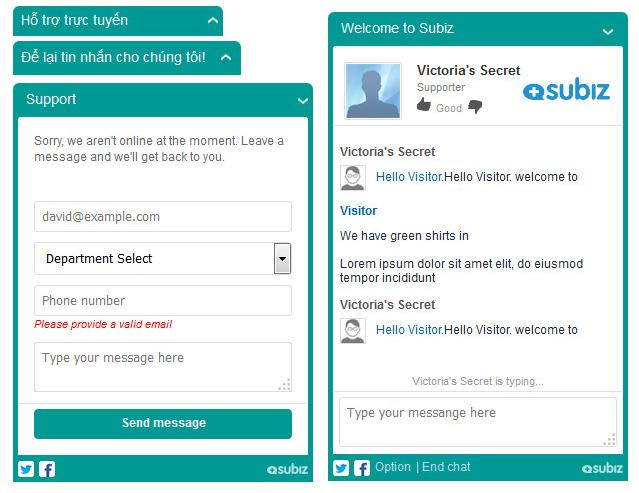 Cửa sổ chat Subiz hiện đại
