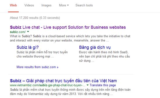 Sitelink của Subiz.com