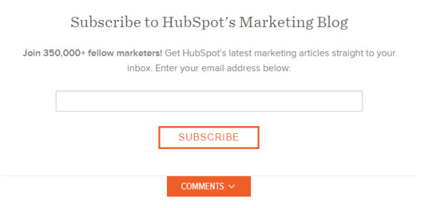 HubSpot signup form