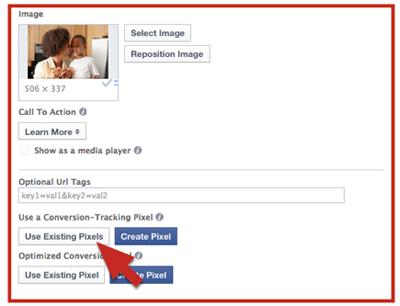 Để sử dụng conversion tracking pixels có sẵn, nhấn vào nút được chỉ bởi mũi tên đỏ