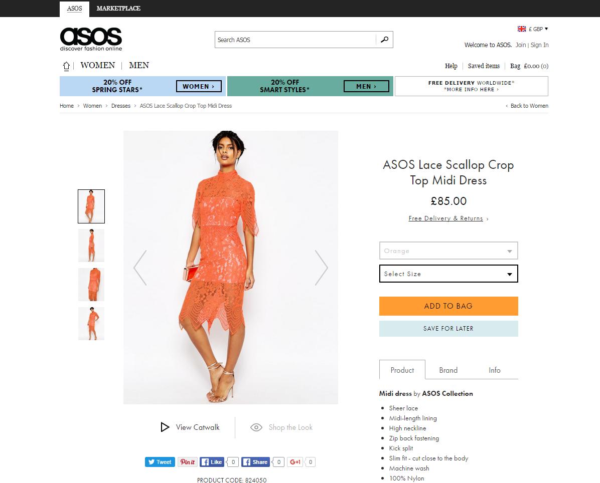 Trang chi tiết sản phẩm của ASOS