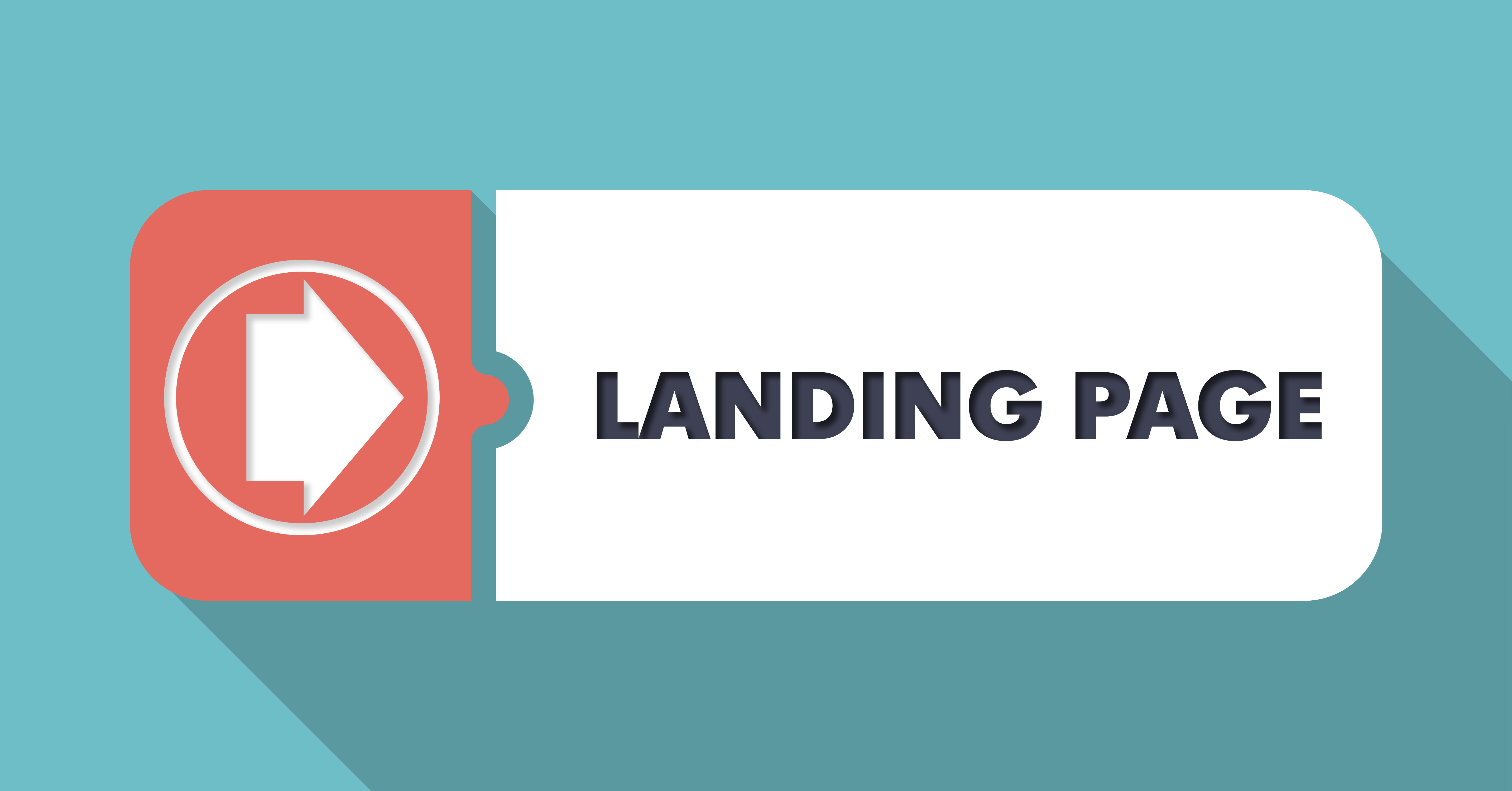 Landing Page on Blue in Flat Design.