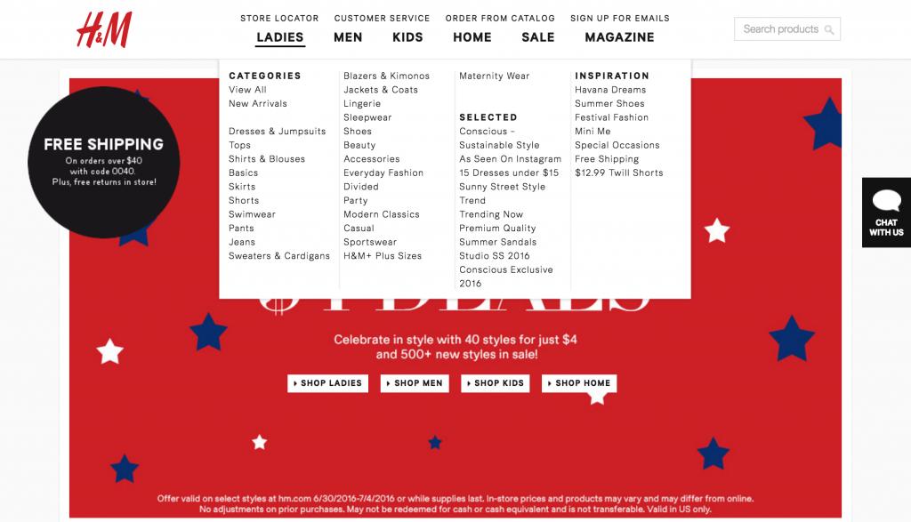 Kategorisasi produk yang sederhana di situs H&M untuk mengotimalkan konversi e-commerce