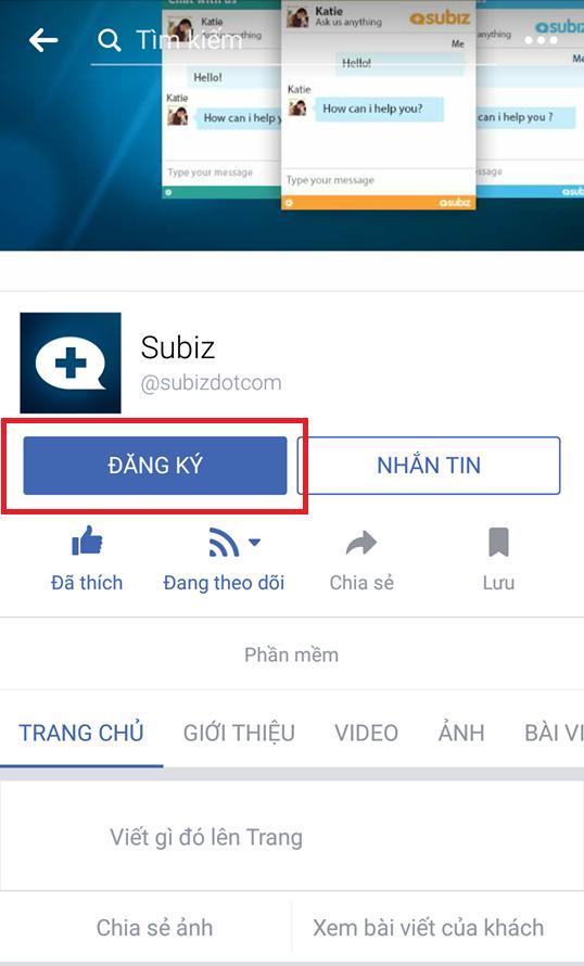 """Subiz sử dụng nút kêu gọi hành động """"Đăng ký"""" cho dịch vụ ứng dụng live chat"""