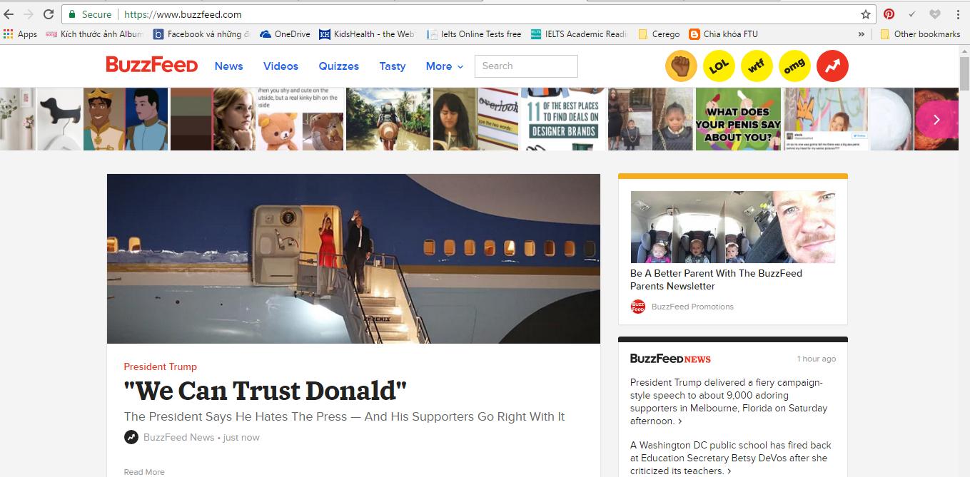 Giao diện website của Buzzfeed