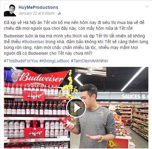 Vlogger Huyme quảng cáo cho bia Budweiser