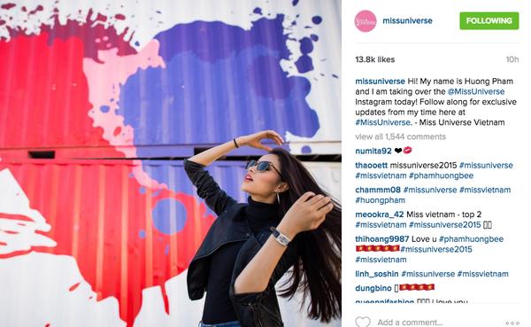 Phạm Hương thông báo quản lý tài khoản instagram chính thức của Hoa hậu Hoàn vũ nhận được quan tâm lớn của người hâm mộ.
