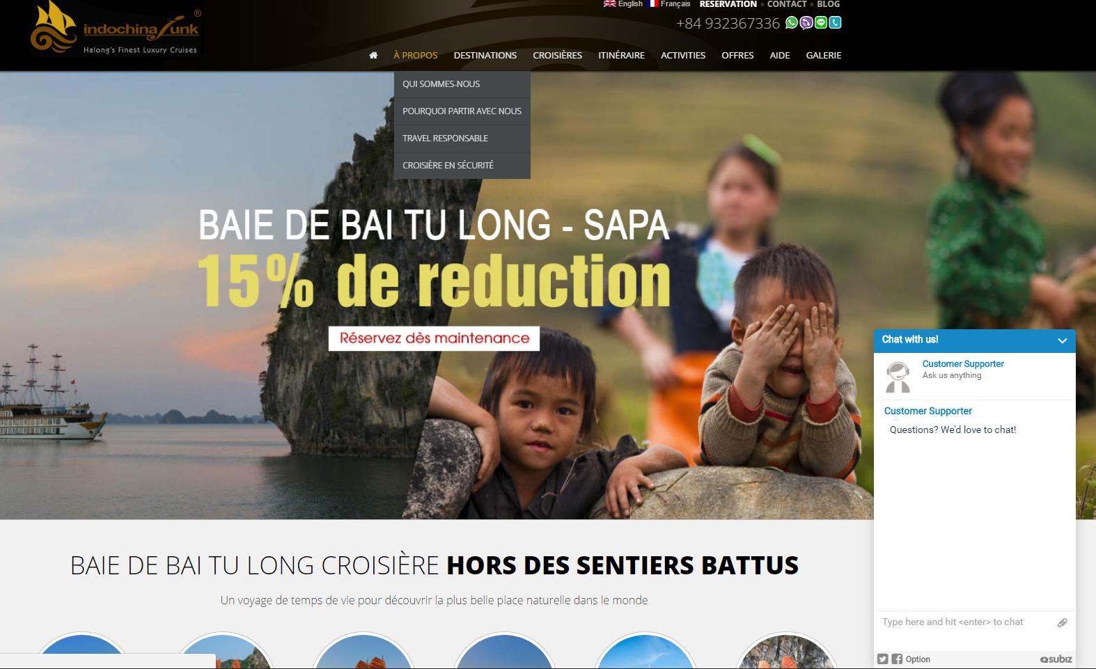 Trigger mời chat tự động khách quốc tế của Indochina Junk