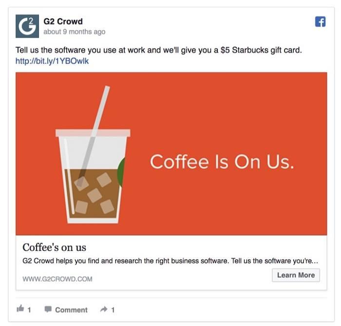 quảng cáo tặng phiếu giảm giá của G2