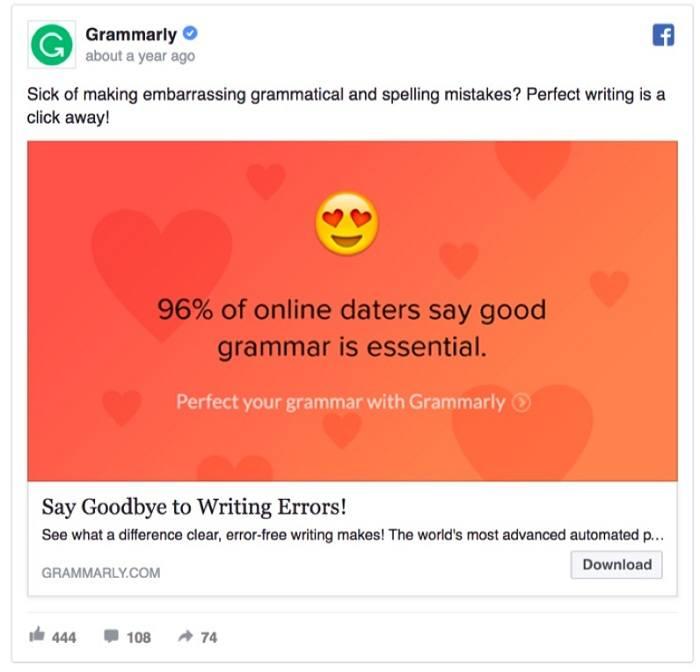 quảng cáo cảm xúc của grammarly