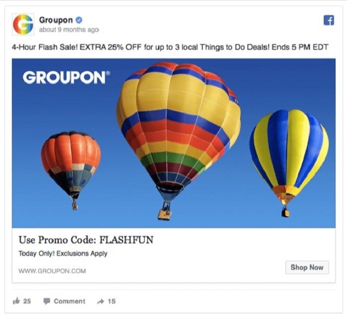 Groupon marketing cảm xúc trong mẫu quảng cáo facebook