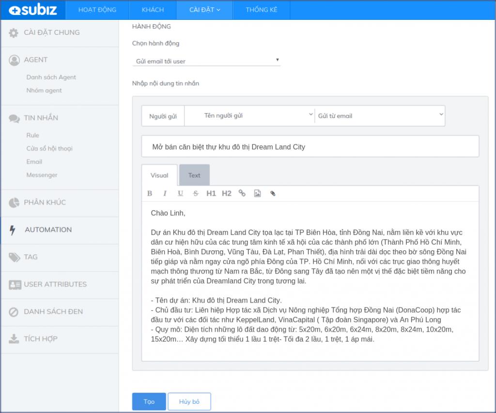 email marketing cho website bat dong san