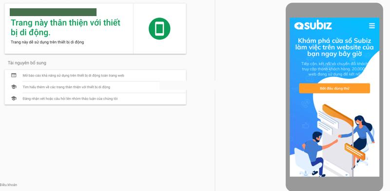 Website của Subiz thân thiện với thiết bị di động